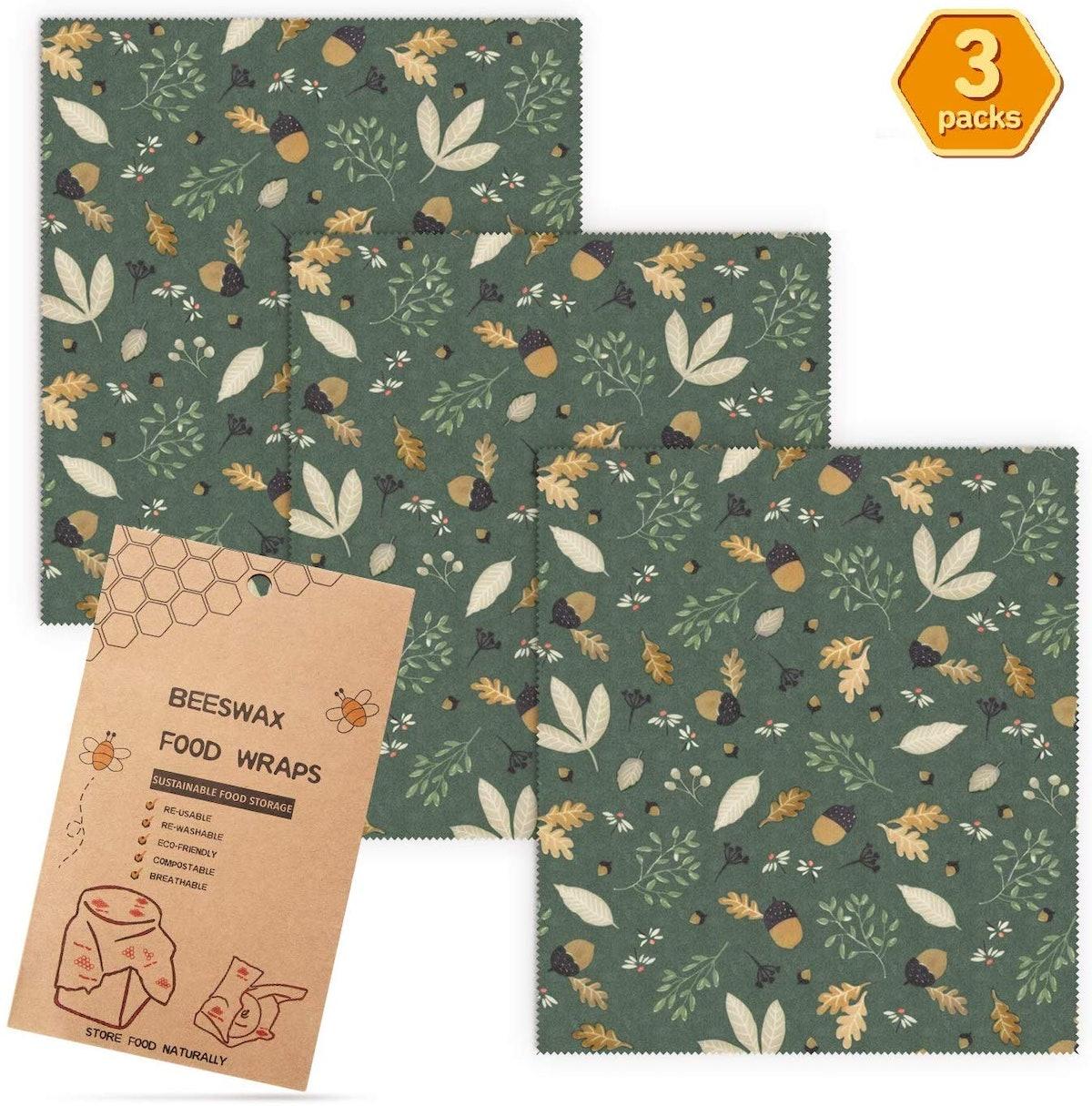 Beeswax Wrap Reusable Food Wrap (3-Pack)
