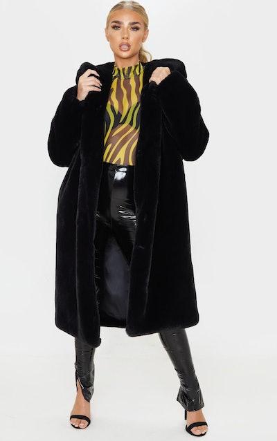 Black Longline Faux Fur Hooded Coat