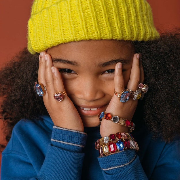 Super Smalls rings and bracelets on a young model