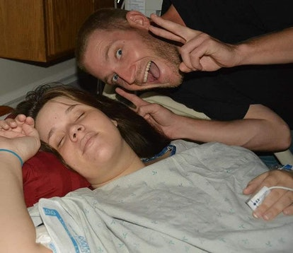 Amanda Crowe closes her eyes during labor.