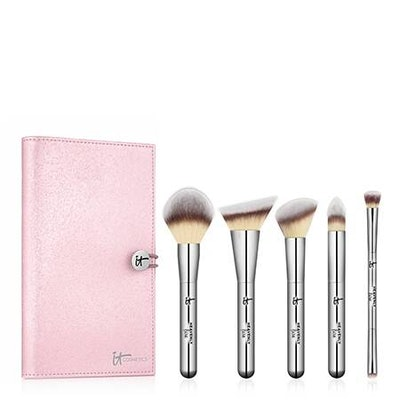 Heavenly Luxe Must-Haves! 5-Piece Full-Size Brush Set + Luxe Travel Case