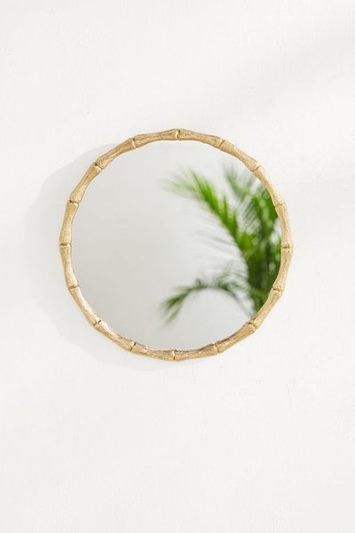 Gold Bamboo Round Wall Mirror