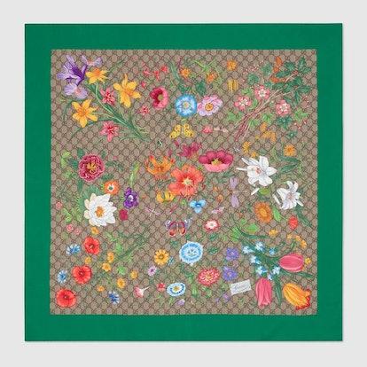 GG Flora Print Silk Scarf