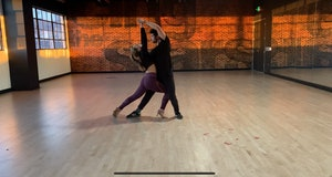 Hannah Brown and Alan Bersten rehearsing the tango for Week 9 of DWTS.