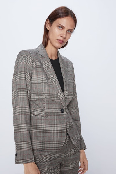 Zara Tailored Plaid Blazer