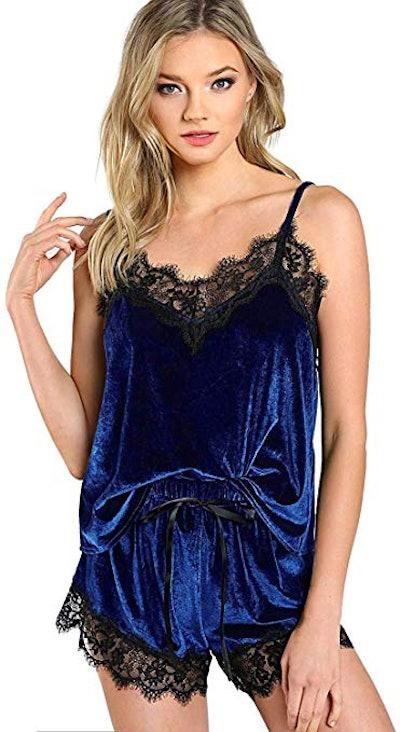 DIDK Lace Trim Velvet Pajama Set