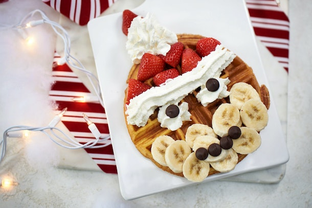 A waffle that looks like Santa is available at Vivoli il Gelato in Disney Springs for the holidays.