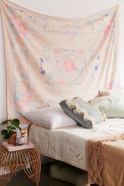 Kimset Pink Folk Floral Tapestry