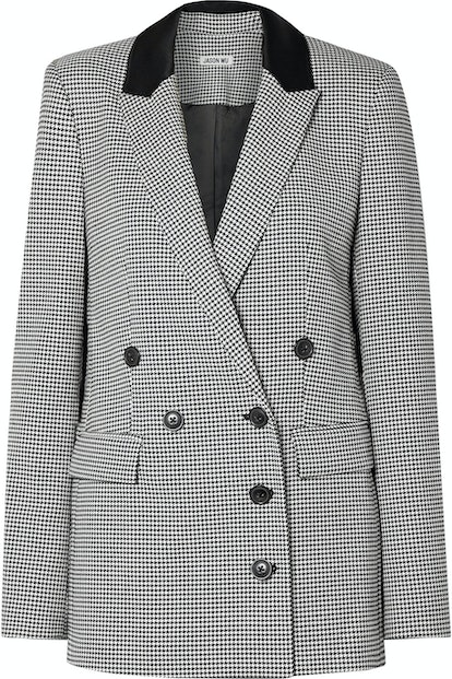 Double-Breasted Houndstooth Woven Blazer