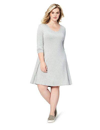 Daily Ritual Women's Plus Size Jersey Long-Sleeve V-Neck Dress