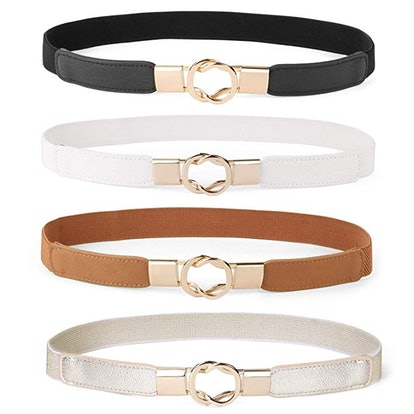 WERFORU Women Skinny Belt (4-Pack)