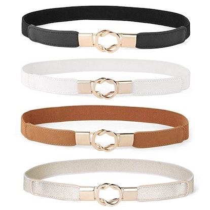 WERFORU Women Skinny Belt (4-Pack)