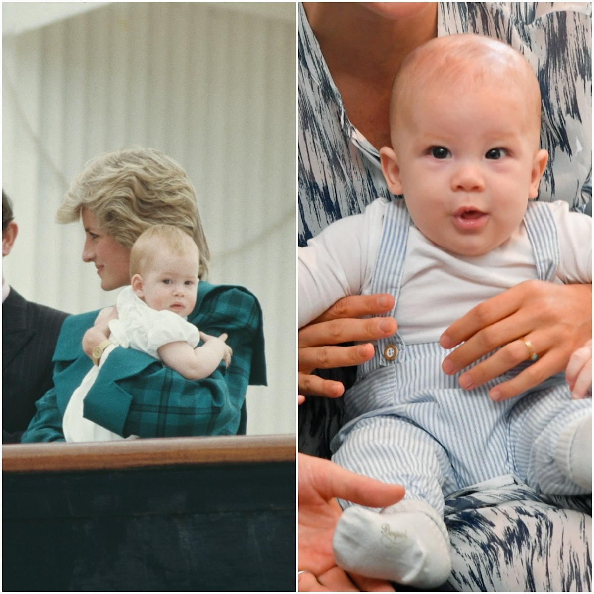 A side-by-side of Prince Harry as a baby and Baby Archie as a baby.