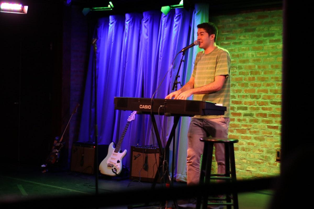 """Comedian Dylan Adler performs at """"Rape Jokes By Survivors"""" on November 8, 2019."""