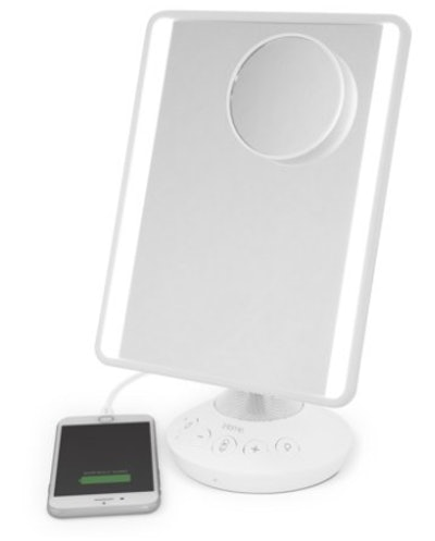 "iHome Mirror with Bluetooth Audio, LED Lighting, Bonus 10x Magnification, Siri & Google Support USB Charging 7"" x 9"""