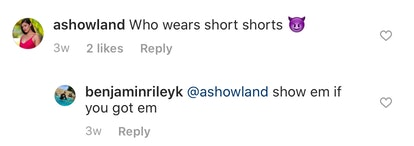 "Temptation Island's Ashley Howland comments ""Who wears short shorts"" on Ben's Instagram photo"