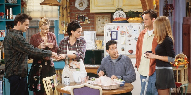 The cast of Friends with a turkey