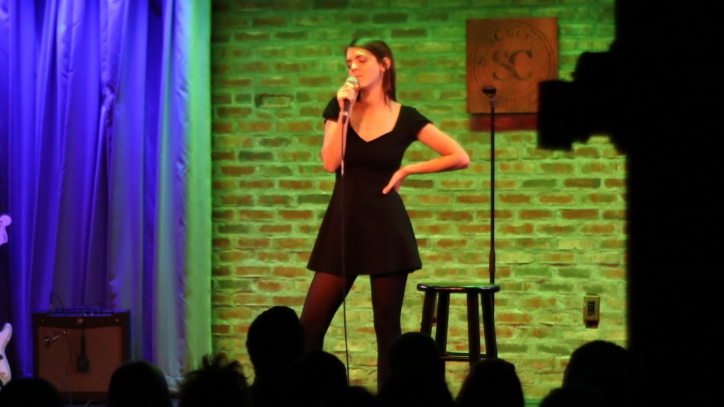 "Comedian Kelly Bachman performs at ""Rape Jokes By Survivors"" on November 8, 2019."