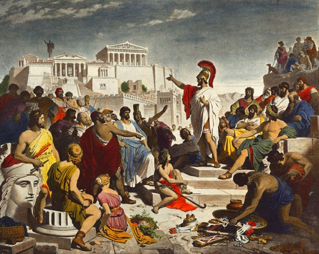 Pericles gives a speech in Athens.