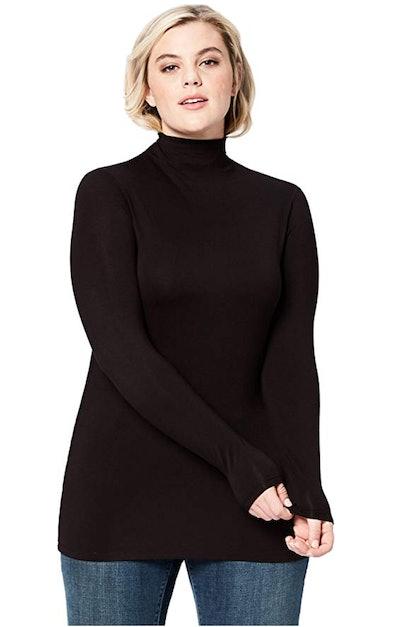 Daily Ritual Women's Plus Size Rib Knit Jersey Long-Sleeve Turtle Neck Shirt