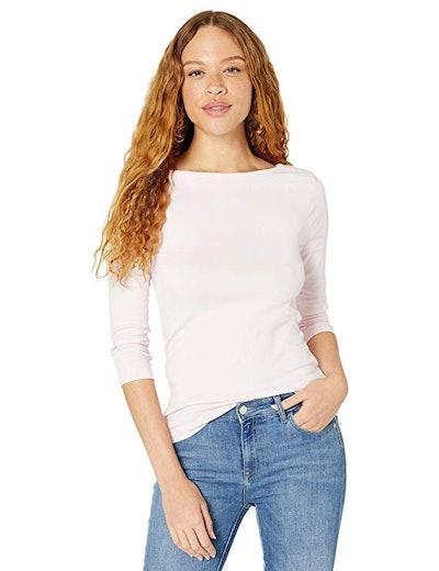 Amazon Essentials Women's Slim-Fit 3/4 Sleeve Boatneck T-Shirt