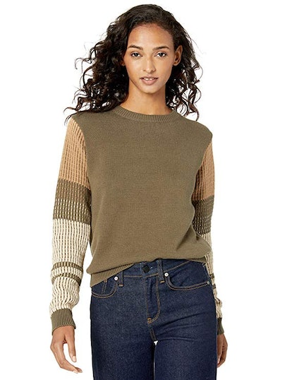 Cable Stitch Women's Contrast-Sleeve Cotton Sweater