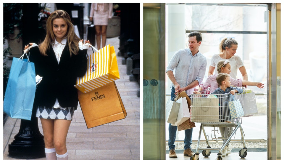 Clueless still of Cher Horowitz; family getting into elevator at mall with shopping cart