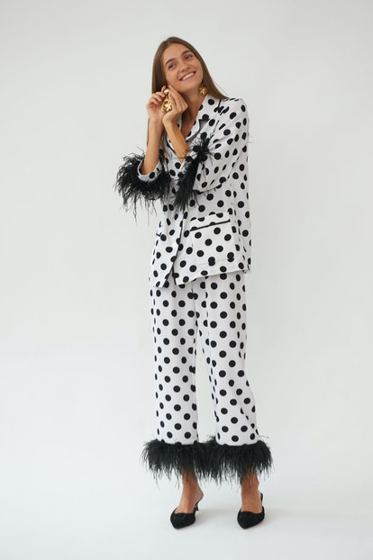 Party Pajama Set with Feathers in Polka Dot