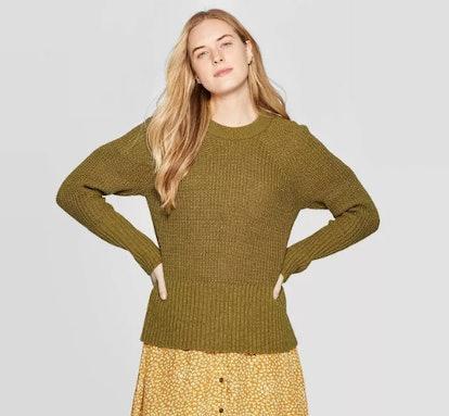 Women's Long Sleeve Crew Neck Raglan Pullover Sweater