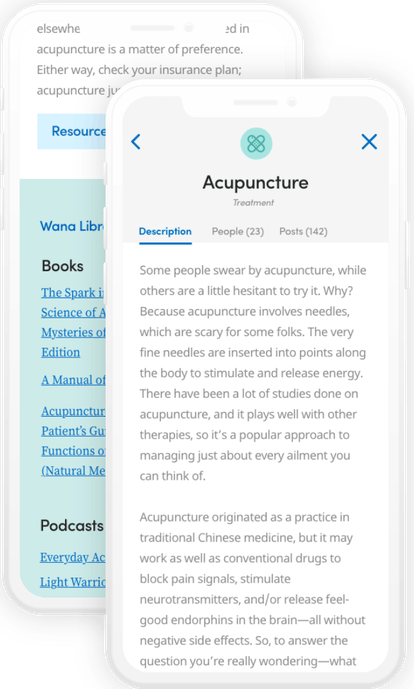 A screenshot of the Wana app's WanaLibrary that shows an informational page about acupuncture and its history, benefits, and cons.