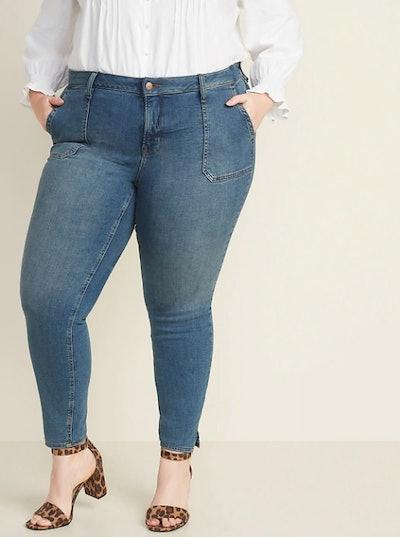 High-Waisted Secret-Slim Pockets Plus-Size Rockstar Super Skinny Ankle Jeans