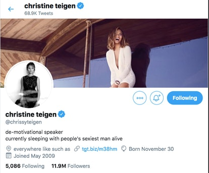 """Chrissy Teigen's new Twitter bio includes the fact that she is sleeping with the """"Sexiest Man Alive"""" John Legend"""