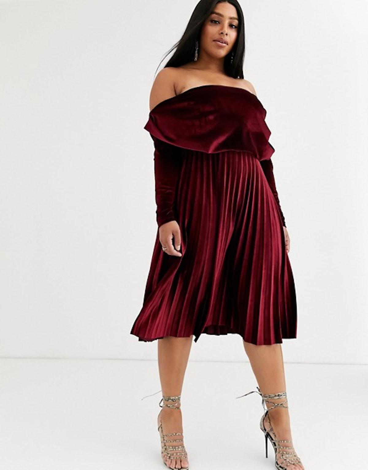 ASOS DESIGN Curve Velvet Long Sleeve Bardot Pleated Midi Dress in Oxblood
