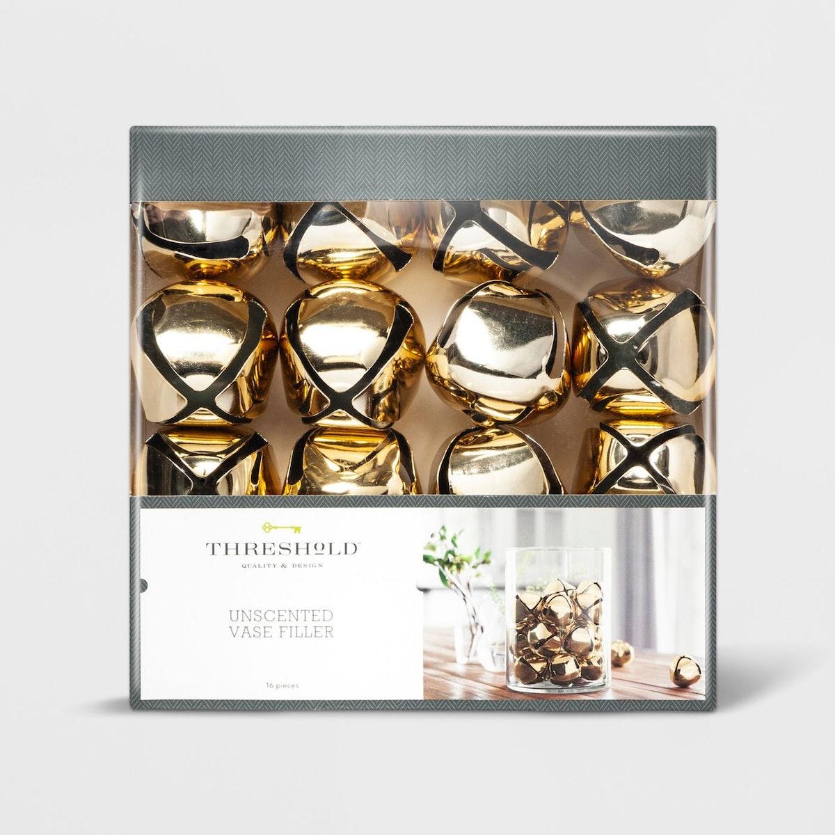 16-Piece Jingle Bells Vase Filler Gold