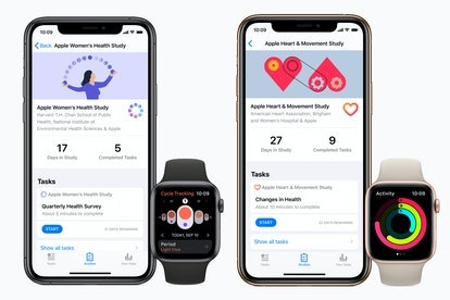 Screenshots of Apple Research App, showing the Women's Health study and the Heart and Movement study