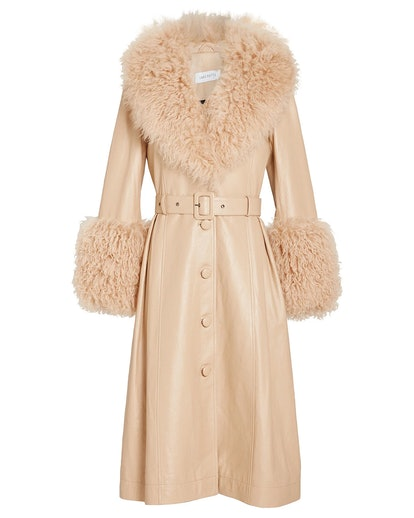 Foxy Shearling Patent Leather Coat