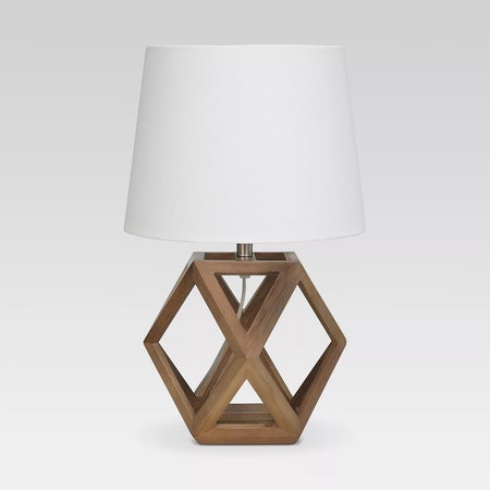Geometric Wood Figural Accent Lamp Brown by Threshold