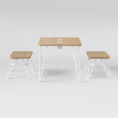 Landry Rectangle Activity Table With Stools Natural by Pillowfort