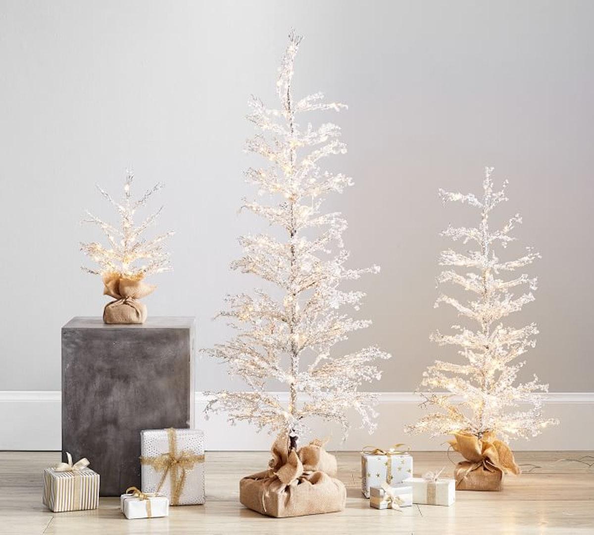 Pre-Lit Snowy Crystal Trees