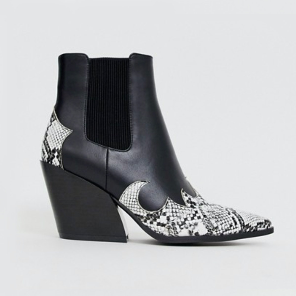 RAID Roohi Black and Snake Mix Western Boots