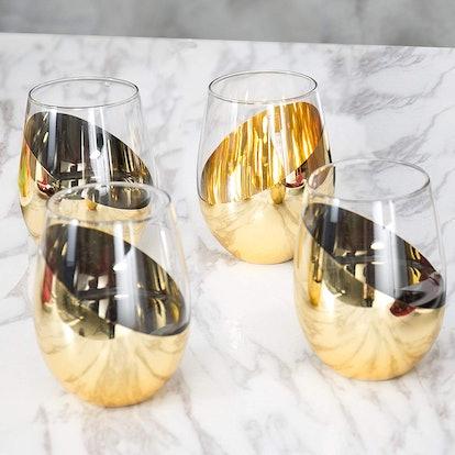 MyGift Stemless Wine Glasses