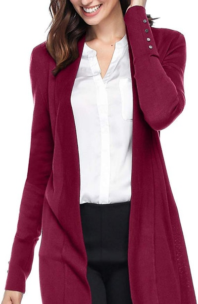 Spicy Sandia Open-Front Knit Cardigan