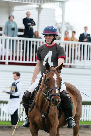 Josh O'Connor playing polo as Prince Charles on The Crown