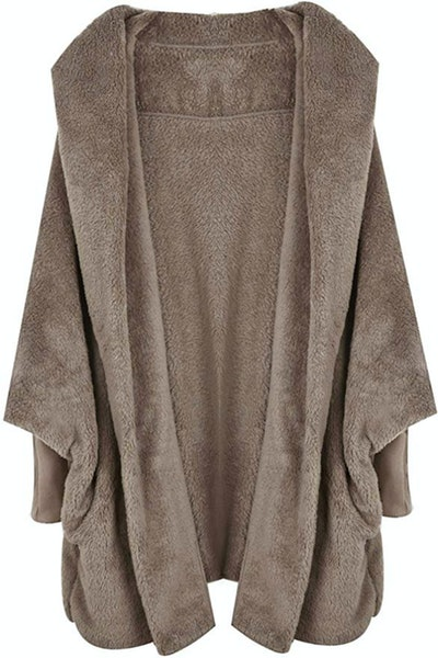 SweatyRocks Hooded Dolman Sleeve Faux Fur Cardigan