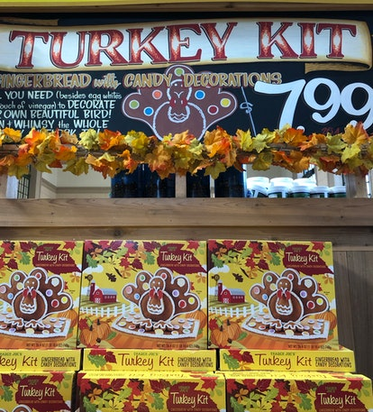 Image of grocery store display of gingerbread turkey kits