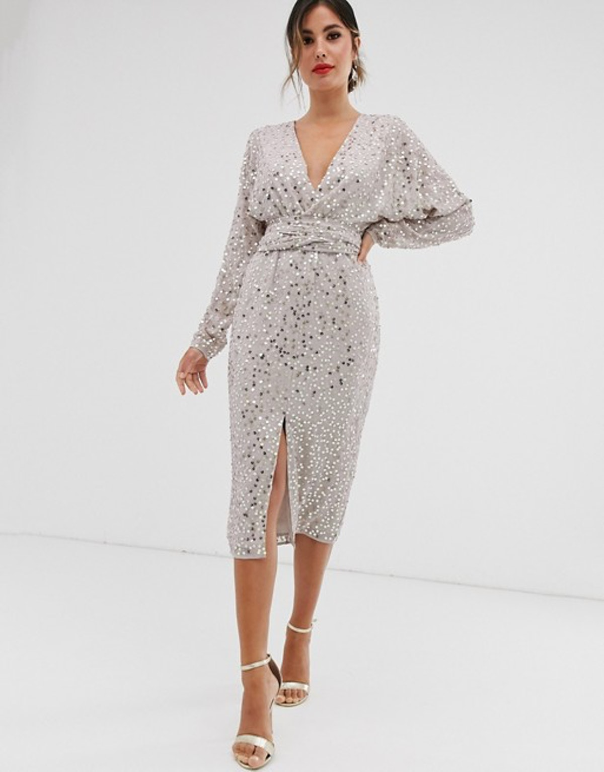 ASOS DESIGN Midi Dress with Batwing Sleeve and Wrap Waist in Scatter Sequin