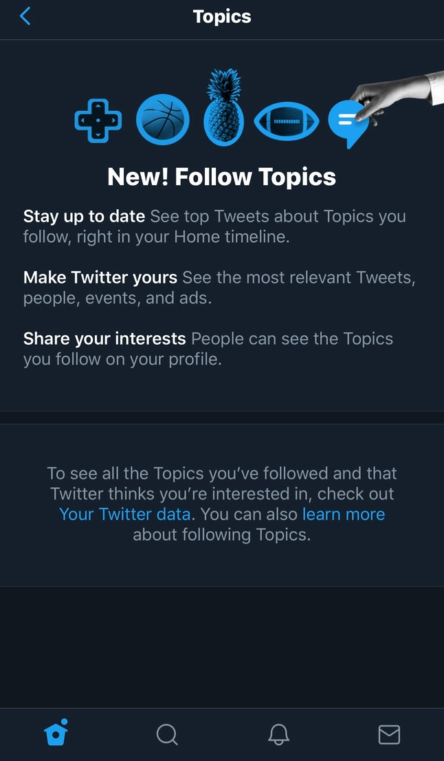You can organize and set up Topics in the sidebar of the Twitter app.
