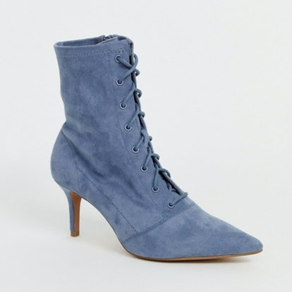 ASOS DESIGN Respect Lace Up Kitten Heel Boots in Gray