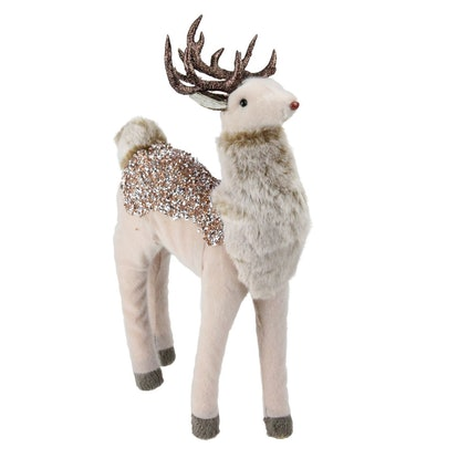 """Northlight 13"""" Rose Gold Jeweled and Glittered Standing Deer Christmas Decoration"""
