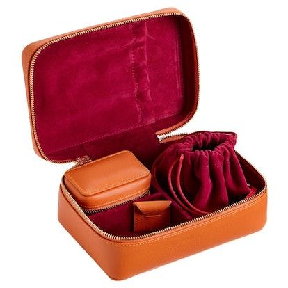 Amelia Leather Jewellery Case 2-Piece Set – Amber Orange & Berry